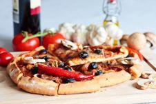 Pizza With Salami Stock Photos