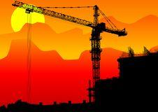 Free Construction Cranes Sun Royalty Free Stock Photography - 19962317