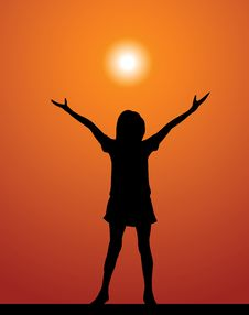 Free The Girl And Sunset Stock Image - 19962451