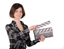 Free Girl With Clapboard Stock Photo - 19963040