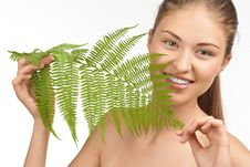 Free Beautiful Woman With Green Leaf Stock Images - 19964184