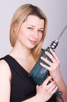 Free Girl With A Drill Stock Image - 19964491