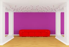 Free Gallery S Hall With Red Divan Royalty Free Stock Photography - 19965137