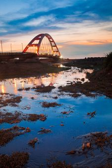 Free Blue Stype Color Red Bridge Sunset Stock Photos - 19965343