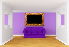 Gallery With Purple Sofa Stock Photo