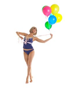 Free Beauty Woman In Lingerie With Balloons Royalty Free Stock Photos - 19965788