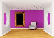 Free Pink Gallery With White Chair Royalty Free Stock Photography - 19965847