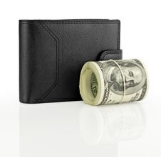 Free Black Leather Wallet With Money Stock Images - 19965954