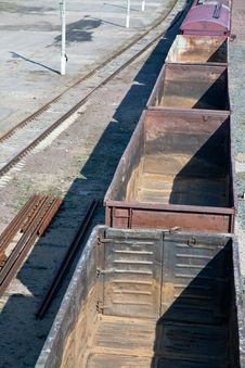 Free Empty Freight Carriers On Railroad Stock Image - 19966031