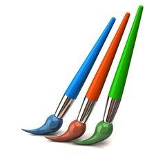 Blue, Orange And Green Brush Royalty Free Stock Image