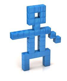 Free Blue Pixel Man Stock Images - 19966874