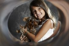 Free Girl Portrait With Dog Stock Images - 19969234