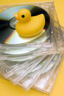Free Rubberduck And CD Royalty Free Stock Images - 19969449