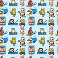 Free Cartoon Summer Animal Seamless Pattern Stock Photography - 19970392