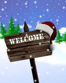 Free Welcome Sign Board And Christmas Royalty Free Stock Photography - 19971387