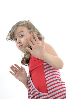 Free Scared Girl Defending Royalty Free Stock Image - 19971676