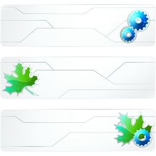 Free Three White Futuristic Banners Royalty Free Stock Photography - 19971697