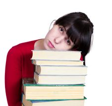 The Young Girl With Books Stock Photo