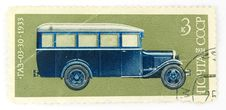A Cancelled Stamp With A Bus Stock Photos