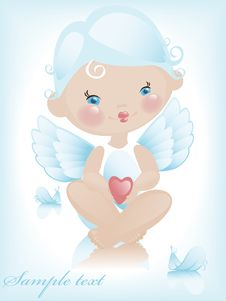 Free Angel With Hearts 2. Royalty Free Stock Photography - 19973427