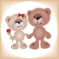 Boy And Girl. Bear. Stock Photo
