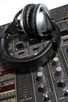 Free Dj Headphones On Mixer Stock Photo - 19974560