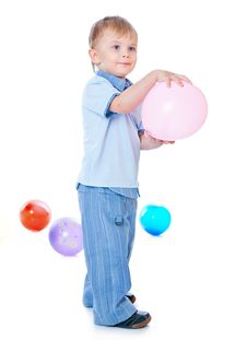 Little Boy In Balloons Stock Photography