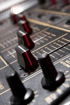 Free Faders On Professional Mixing Controller Stock Images - 19974654