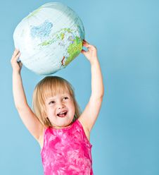 Free A Little Girl With A Globe Stock Photos - 19974843