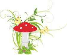 Free Fly Agaric Mushroom And Butterflies Stock Image - 19975061