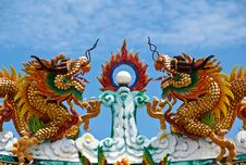 Free The Chinese Dragons On Roof Royalty Free Stock Image - 19975366