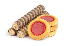 Free Creamy Wafer Rolls And Cookies Stock Photography - 19976222