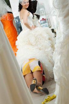 Free Fashion Model Fitting White Wedding Dress Stock Photography - 19976932