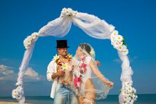 Free Newlywed Couple In Hawaiian Hula Stock Images - 19976974