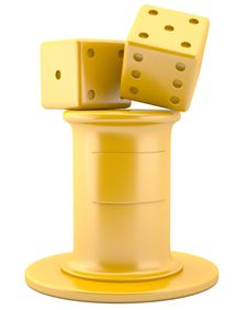 Gold Dices On Pedestal Royalty Free Stock Images