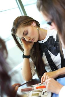 Girl On Examinination Stock Images