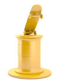 Gold Skateboard On Pedestal Royalty Free Stock Images