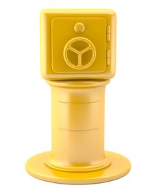 Gold Safe On Pedestal Royalty Free Stock Photos