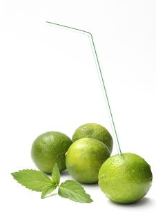 Free Lime With A Straw Stock Photo - 19977490