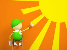 Free Painter Paints The Sun On The Wall Royalty Free Stock Photo - 19978105