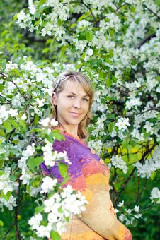 Free Woman Near The Blooming Tree Stock Photography - 19978282
