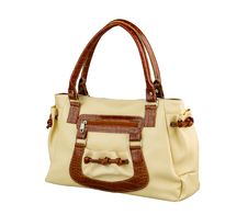 Beige Leather Handbag Isolated Stock Photos