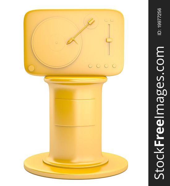 Gold turntable on pedestal