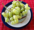 Free Green Grapes On Pottery And A Red Checked Textile Stock Photography - 19982902