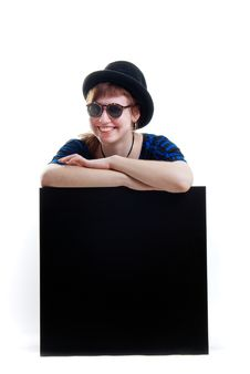 Free Woman In Sunglasses Isolated On Black Cube Stock Photo - 19980230
