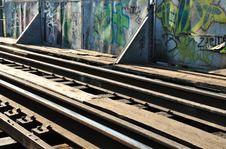 Rails And Graffiti Stock Photography