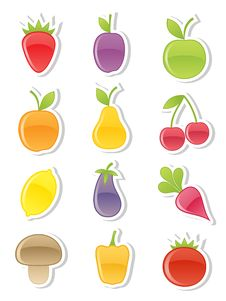 Set Of Fruits And Vegetables. Royalty Free Stock Images