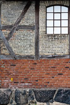 Old Brick Wall With Framework Stock Image