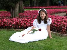 Free Beautiful Girl In Her First Communion Royalty Free Stock Photography - 19981727