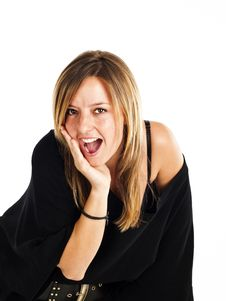 Free Surprised Woman On A White Background Royalty Free Stock Images - 19981809